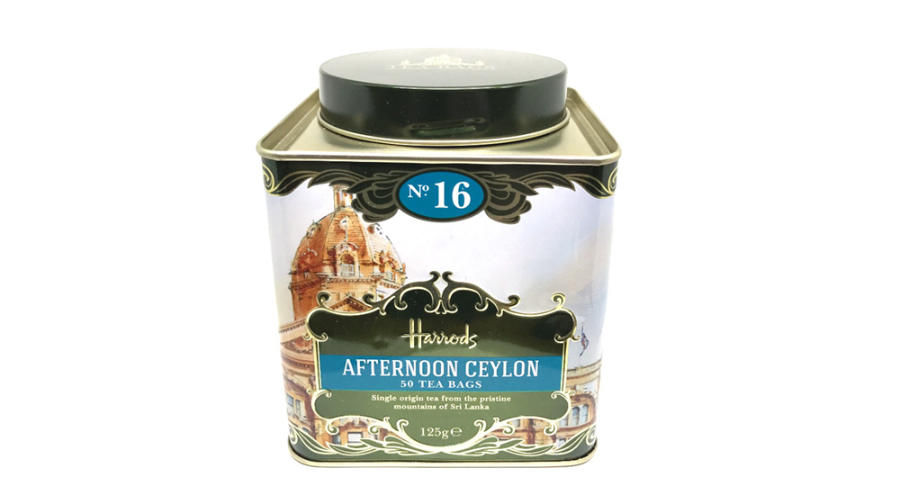Harrods afternoon tea tin - Tinworks metal tin in tinplate and aluminium