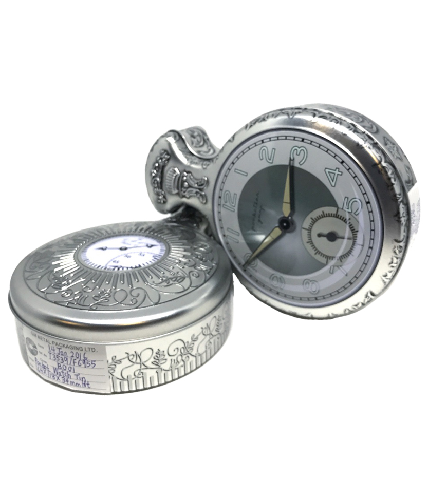 Stopwatch confectionary tin - Tinworks metal tin in tinplate and aluminium