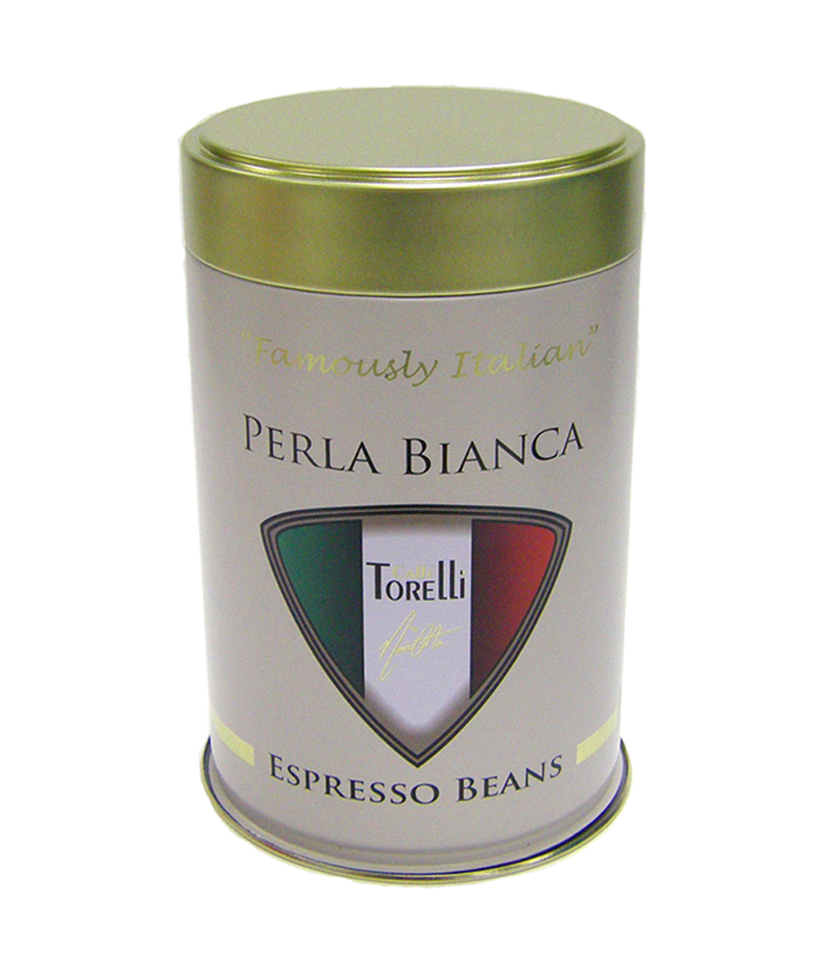 Perla Bianca espresso bean tin 2- Tinworks metal tin in tinplate and aluminium