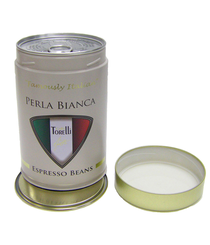 Perla Bianca espresso bean tin 1- Tinworks metal tin in tinplate and aluminium