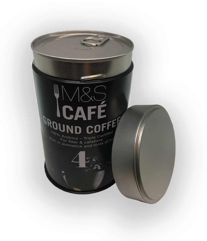 M&S cafe ground coffee tin 1 - Tinworks metal tin in tinplate and aluminium